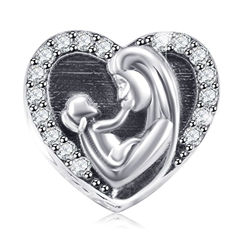 Mom and Child Charms Fit Pandora Charm Bracelets - 925 Sterling Silver Heart Beads for Necklace and European Snake Chain. Kids in Mother's Arms - Gifts for New Mom of Baby Shower/Show.