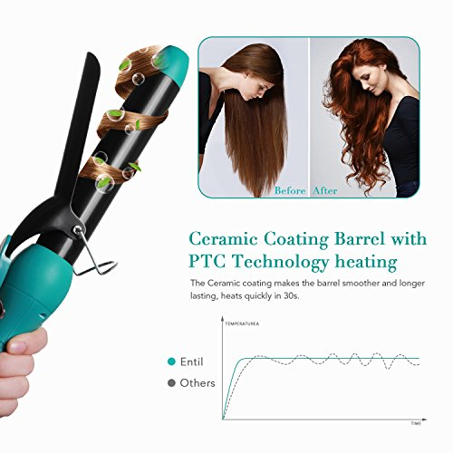 Curling Iron and Wand Interchangeable Set - 5in1 with Professional Ceramic Barrels, Dual Voltage, 1-1.25 Inch Clip, 3/4 Inch Clipless, Bubble, Pearl, Tapered Hair Curler for Women with Waves Entil by Entil (Image #6)