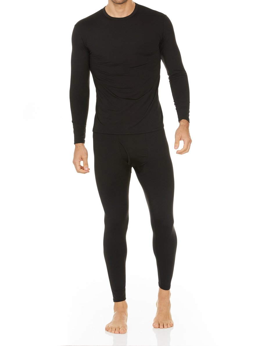 Thermajohn Men's Ultra Soft Thermal Underwear Long Johns Set Fleece Lined (X-Small, Black)