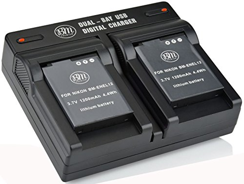 BM Premium 2 EN-EL12 Batteries & Dual Charger for Nikon KeyMission 170, KeyMission 360, Coolpix W300, A900, AW100, AW110, AW120, AW130, S9050, S9200, S9300, S9400, S9500, S9700, S9900, P330, P340