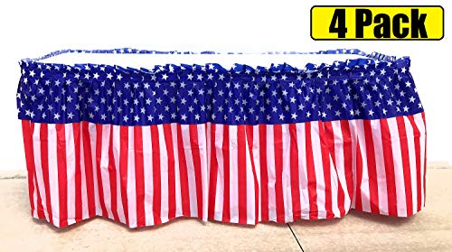 4 Pack Red White and Blue Table Skirt | Patriotic July 4th Party 14 Ft. X 29