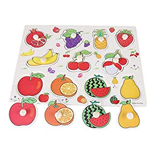 Cognitive Knob Puzzle, Wooden Puzzle Hand Grip Board Shape Learning Toy for Toddlers(Fruit)