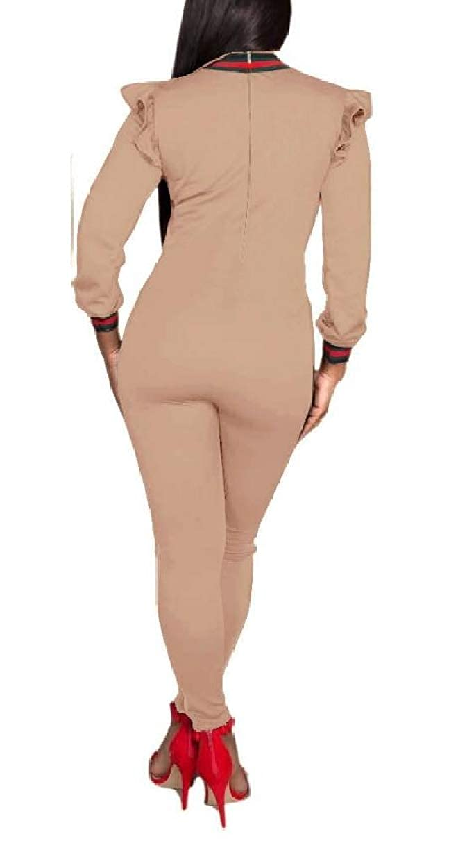 YIhujiuben Women Long Sleeve Round Neck Bodycon Tight Full Length Jumpsuits Rompers