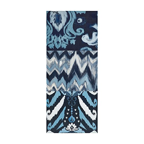Flourish Ikat Abstract Blue Canvas Wall Art 15X35 3 Piece Multi Panel, Modern/Contemporary Wall Décor