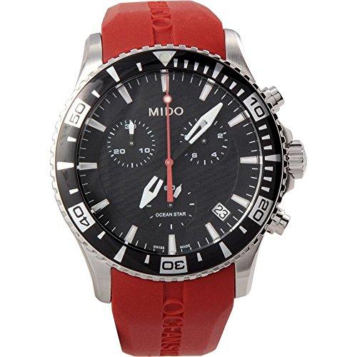Mido Ocean Star M0114171705100 Men Watch Quartz Chronograph Date Red Rubber -  Mido-M0114171705100