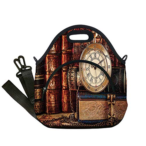 Insulated Lunch Bag,Neoprene Lunch Tote Bags,Antique,Nostalgic Classic Pocket Watch on the Background of Old Books Dated Archive Photo,Multicolor,for Adults and ()
