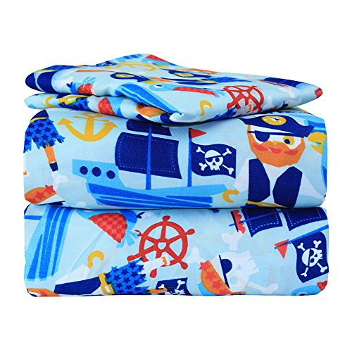 Dor Extreme Super Soft Luxury Twin Pirate Bed Sheet Set in 8 Different Prints, Pirate Party, 3 Piece Set