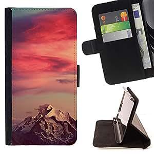 """For LG G4c Curve H522Y (G4 MINI), NOT FOR LG G4,S-type Red Sky Montaña Nieve Nubes"""" - Dibujo PU billetera de cuero Funda Case Caso de la piel de la bolsa protectora"""