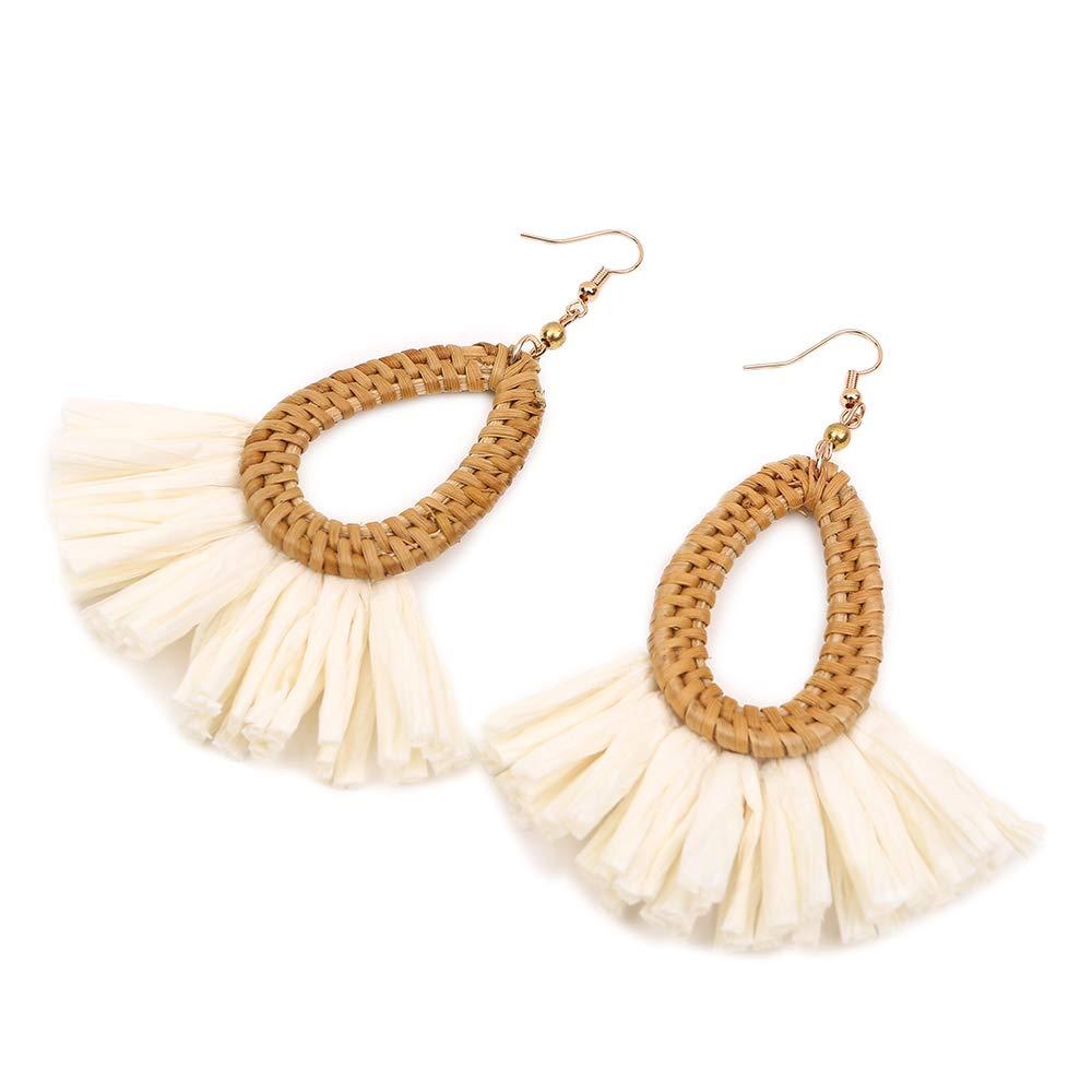 Woven Rattan Raffia Tassel Drop Earrings
