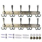 Dseap Wall Mounted Coat Rack - 5 Tri Hooks, Heavy