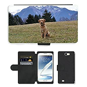Hot Style Cell Phone Card Slot PU Leather Wallet Case // M00115481 Dog Labrador Meadow Sitting // Samsung Galaxy Note 2 II N7100