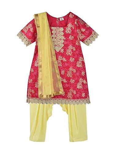 Salwar Red Kameez - K&U Girl's Red & Yellow Salwar Kurta Dupatta Set