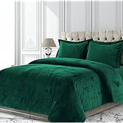 TRIBECA LIVING VENICEDUVETQUEG Venice Velvet Oversized Solid Duvet Set, Queen, Emerald Green