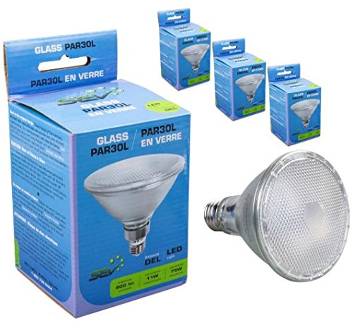 4 Pack SEV par30l cuello largo carcasa de cristal bombilla LED 11 W (equivalente a 75 W) 800 lumens intensidad regulable LED sin mercurio E26 Base: ...