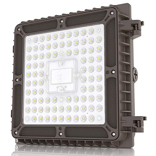 HYPERLITE 65W LED Canopy Light Fixture,8450LM Super Bright 5000K Day Light 100-277VAC,9.1 x 9.1 IP65 Waterproof Commercial Light for Stairways,Warehouse,Backyard,Parking Garage UL Listed