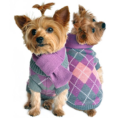 Doggie Design Argyle Lavender Plaid Sweater with Scarf-small