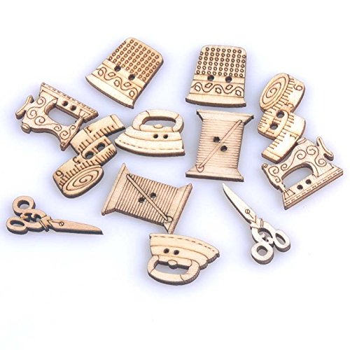 - Yalulu 100pcs 18-30mm Mixed Wooden Mini Tiny Buttons Sewing Tools Decorative Crafts Button Scrapbooking Garment DIY Apparel Accessories