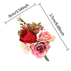 CEWOR 2pcs Wrist Corsage and Boutonniere Set Ribbon Corsage Vintage Artificial Rose Boutonnieres for Wedding Boutonnieres Bride Bridesmaid Corsage Wedding Decor (Red) 2