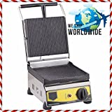 SMALL SIZE ( for practical use ) Commercial Kitchen Equipment Non-Stick CAST IRON GROOVED SURFACE Electric Panini Sandwich Press Grill Maker Machine 220V