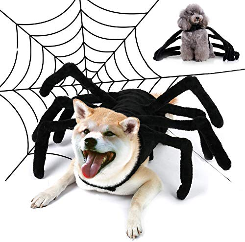 LKEX Pet Halloween Spider Costume,2-Piece Set, Witch Hat with Furry Spider Clothes, Funny Cosplay Party Halloween…