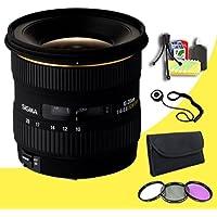 Sigma 10-20mm f/4-5.6 EX DC HSM Lens for Canon Digital SLR Cameras + 77mm 3 Piece Filter Kit + Lens Cap Keeper + Deluxe Starter Kit DavisMAX Bundle