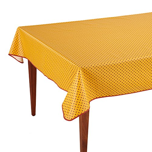 Esterel Safran Rectangular French Tablecloth, Coated Cotton, 63 x 118 (8-10 people) by Occitan Imports