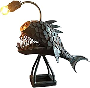 Creative Steampunk Decor, Angler Fish Lamp Steampunk, Vintage Iron Art Handmade Statue Sea Animal Ornament Desktop Night Light for Bedroom Lighting USB LED Silicone Animal Lamp Bedroom Decor (Small)