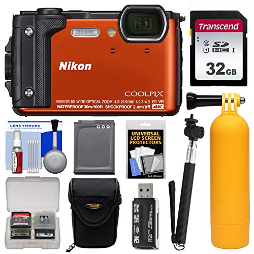Nikon Coolpix W300 4K Wi-Fi Shock & Waterproof Digital Camera (Orange) with 32GB Card + Case + Battery + Monopod + Floating Handle + Kit