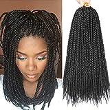 7 Packs 14 Inch Medium Box Braids Crochet Hair Extensions Synthetic Hair Crochet Braids Kanekalon Jumpo Braiding Hair 20 Strands/pack (14 Inch, 1B)