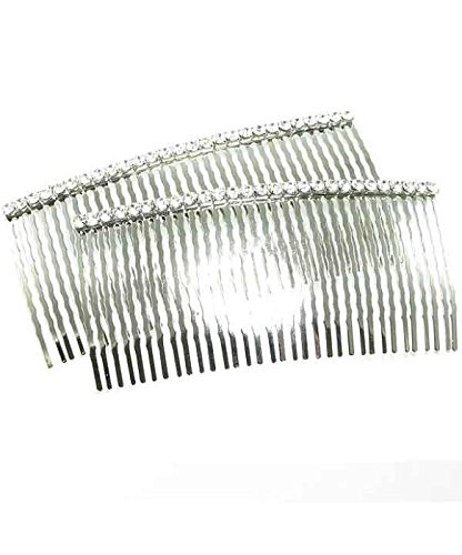 """Two Piece Set of 4.25"""" Austrian Crystal Silver Tone Hair Combs"""