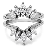 Sterling Silver Marquise Ring Guard Enhancer For Pear Shaped Solitaire with Cubic Zirconia (1.86 ct. tw.)