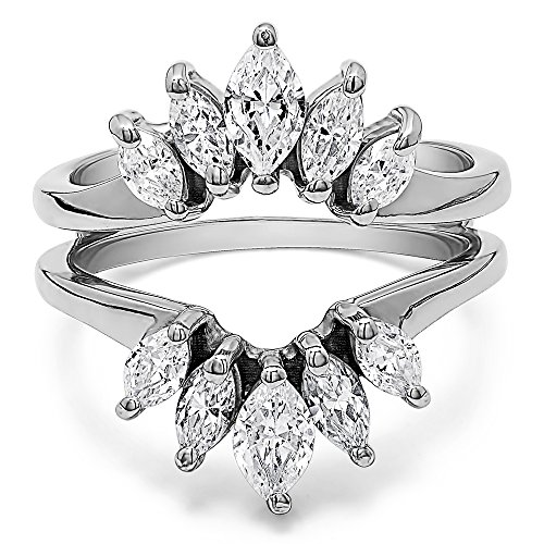 TwoBirch Sterling Silver Marquise Ring Guard Enhancer for Pear Shaped Solitaire with Cubic Zirconia (1.86 ct. tw.)