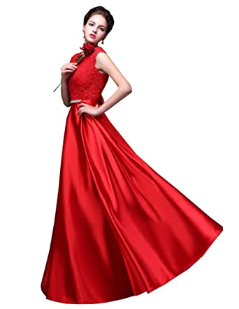 Beauty-Emily Womens Long Formal Evening Dresses Appliques Prom Party Cocktail Wedding Guest Gowns Red