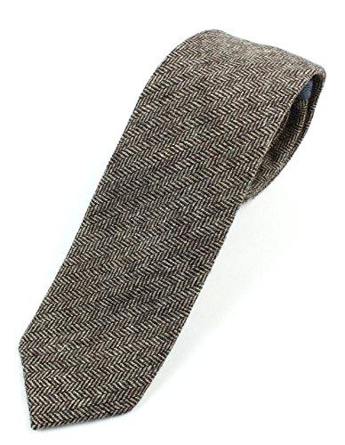 (Men's Wool Herringbone Skinny Necktie Tie - Brown)