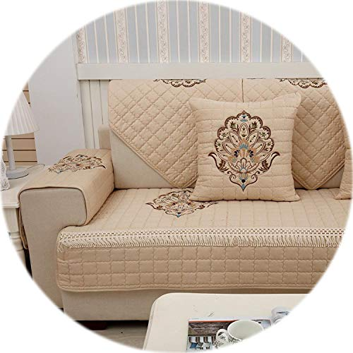 1-Piece Embroidered Slipcovers Sofa Covers Non-Slip Cotton Quilted Corner Sectional Sofa Couch Cover Living Room Sofa Decoration,Brown 01,70x180cm 1 Piece (Couch Sectional Toronto)