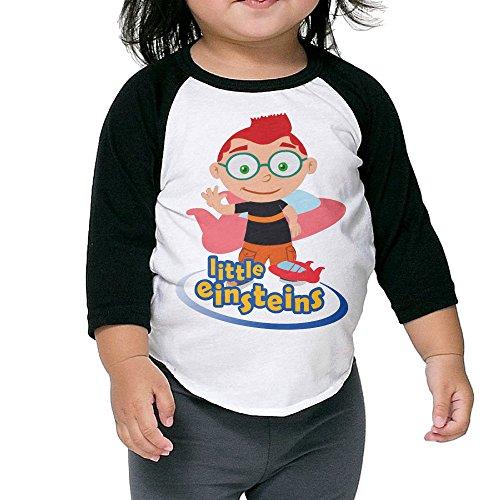 Little Einsteins Plane Raglan T Shirt Toddler Organic Cotton Baseball Sleeve 3/4 Kids Design (Pompey Movie)