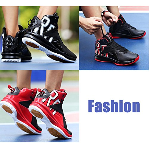 PU Shock De Mode Ball 46 Sports Résistant Basket l'usure Homme Black Chaussures Sneakers Cuir À Antidérapants Absorption d8IYq4qw