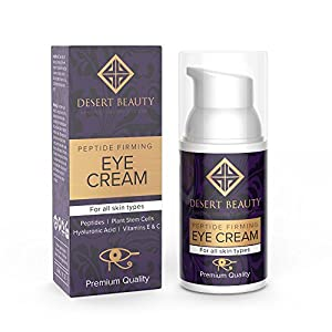 Anti Aging Firming Eye Cream | Peptide Moisturizer Lotion | All Skin Types | Advanced Stem Cell+Collagen Formula For Tightening Sagging Skin & Reducing Dark Circles | 1 oz/30 ML | by Desert Beauty