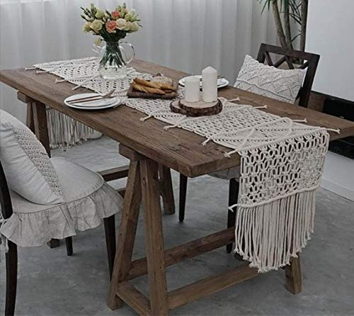 Niustyle Macrame Table Runner, Bohemia Handwoven Décor Wedding Table Runner with Tassels Bedroom Kitchen Coffee Table Decor (14