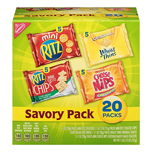Nabisco Savory Crackers Mix, Variety Pack with Cheese Nips, Mini Ritz, Ritz Sour Cream & Onion Chips, and Wheat Thins, 20 Count Individual Snack Bags (Pack of 2)