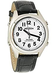 Reizen Talking Atomic Watch - White Face-Black Numbers-Leather Band