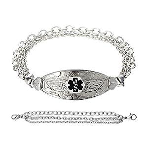 Divoti Custom Engraved Angel Wing Medical Alert Bracelet -Tri-Strand Stainless -Black