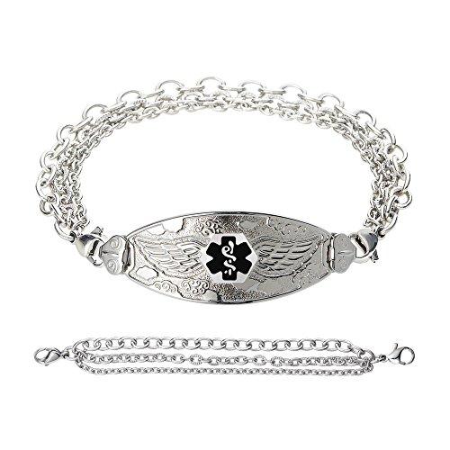 Divoti Custom Engraved Angel Wing Medical Alert Bracelet -Tri-Strand Stainless -Black-6.5'' by Divoti