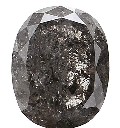 Natural Loose Diamond Oval Black Grey Color I3 Clarity 6.30X5.00X2.80 MM 0.87 Ct L5376