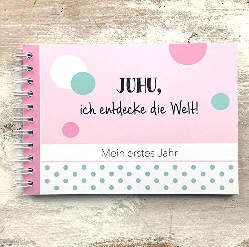 mintkind Baby Erinnerungsbuch Mein erstes Jahr rosa I Babytagebuch I Tolle Geschenkidee Babygeschenk
