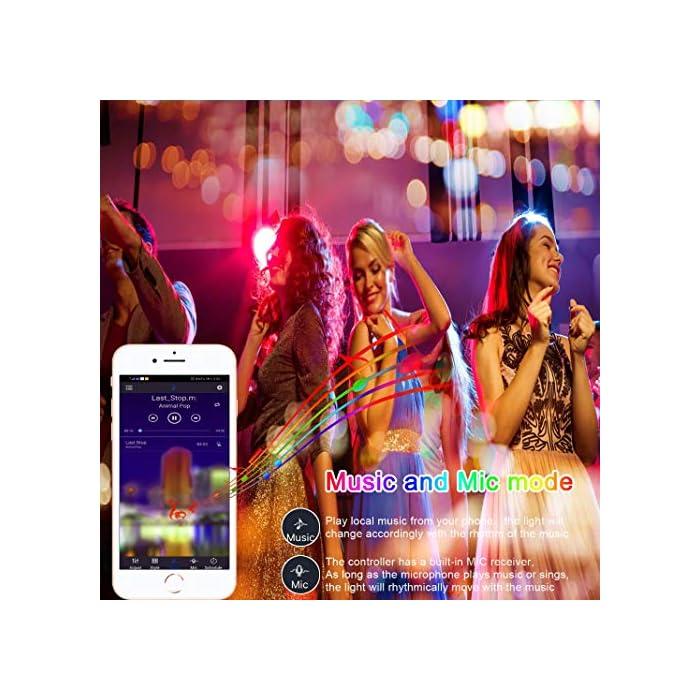 51G7gK7HlzL Tira de luces LED SMD5050 que cambian de color de 15 m con sincronización de música que cambia de color + controlador Bluetooth + luces LED remotas para recámara, fiesta y decoración del hogar controlada por APP