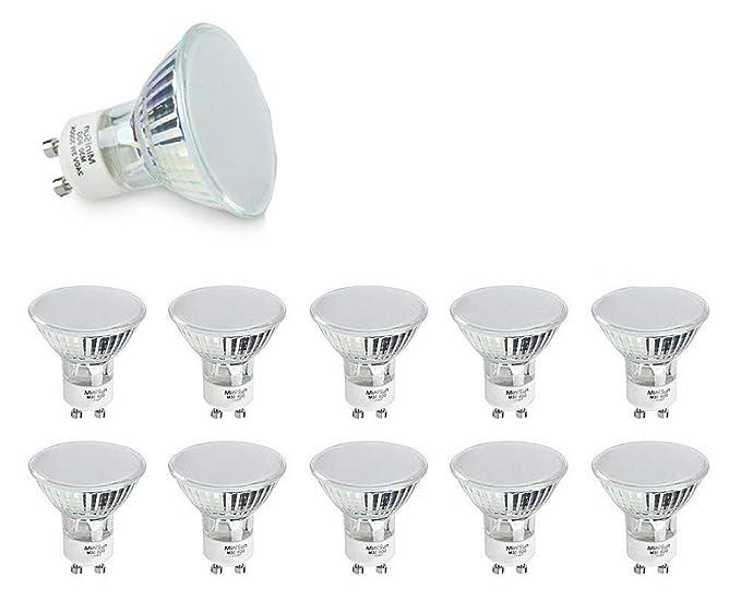MiniSun – Pack de 10 bombillas LED de 3w súper brillantes GU10 de ahorro energético [
