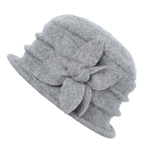 (Dantiya Womens Winter Warm Wool Cloche Bucket Hat Slouch Wrinkled Beanie Cap with Flower (Flower-Grey))
