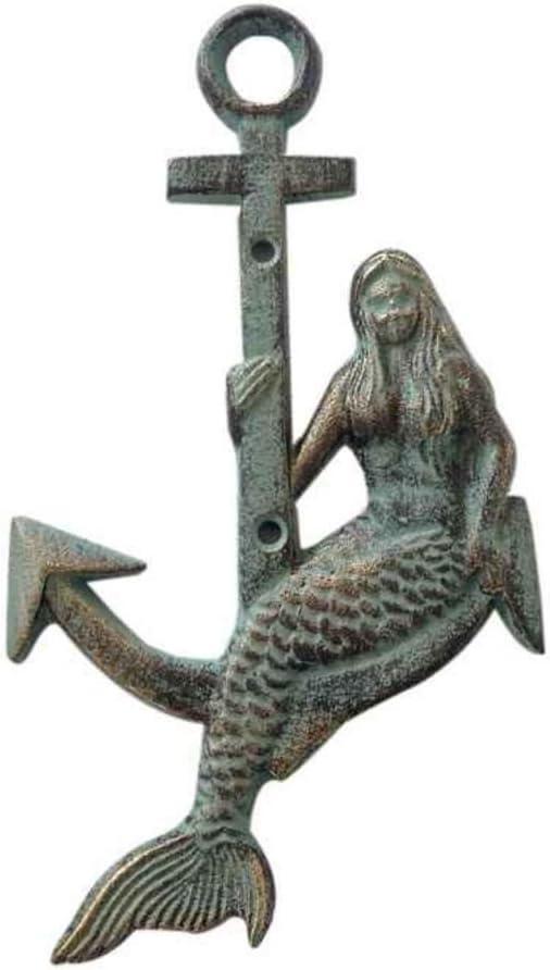 Hampton Nautical Cast Iron Mermaid Anchor Metal Wall Art, Antique Bronze