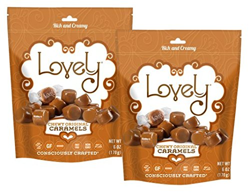 Soft and Chewy Caramels (2-Pack) - Lovely Co. (2) 6 oz. Bags - Old Fashioned Style, Authentic Caramel Candies - Non-GMO, Soy & HFCS-Free, Gluten-Free and Kosher!